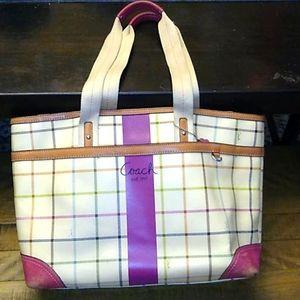 Vintage XL tattersall pattern coach bag